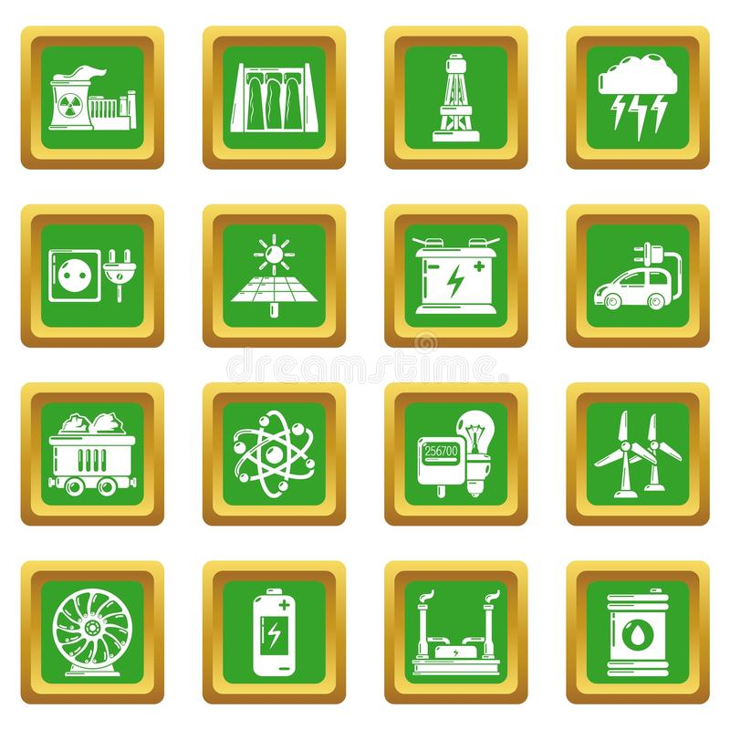 Energy sources icons set green square vector. Energy sources icons set vector green square isolated on white background stock illustration