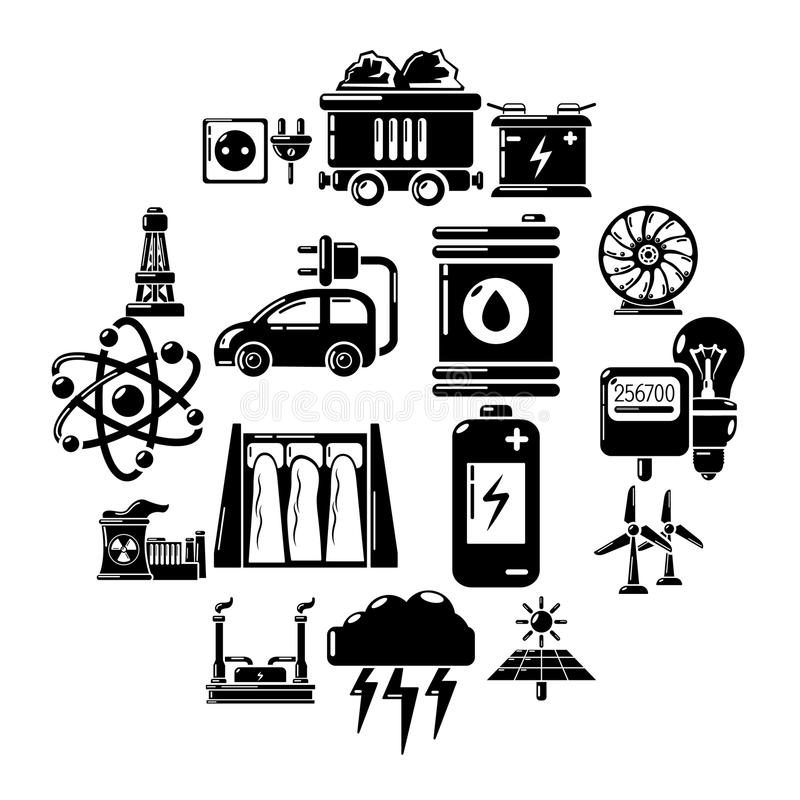 Energy sources icons set, simple style. Energy sources icons set. Simple illustration of 16 energy sources vector icons for web vector illustration