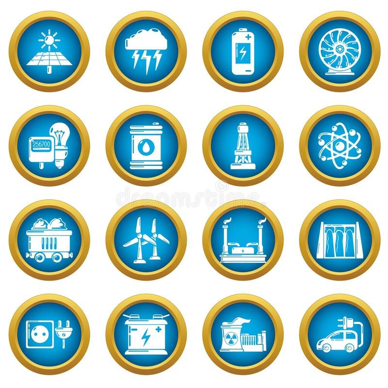 Energy sources icons set, simple style. Energy sources icons set. Simple illustration of 16 energy sources vector icons for web royalty free illustration