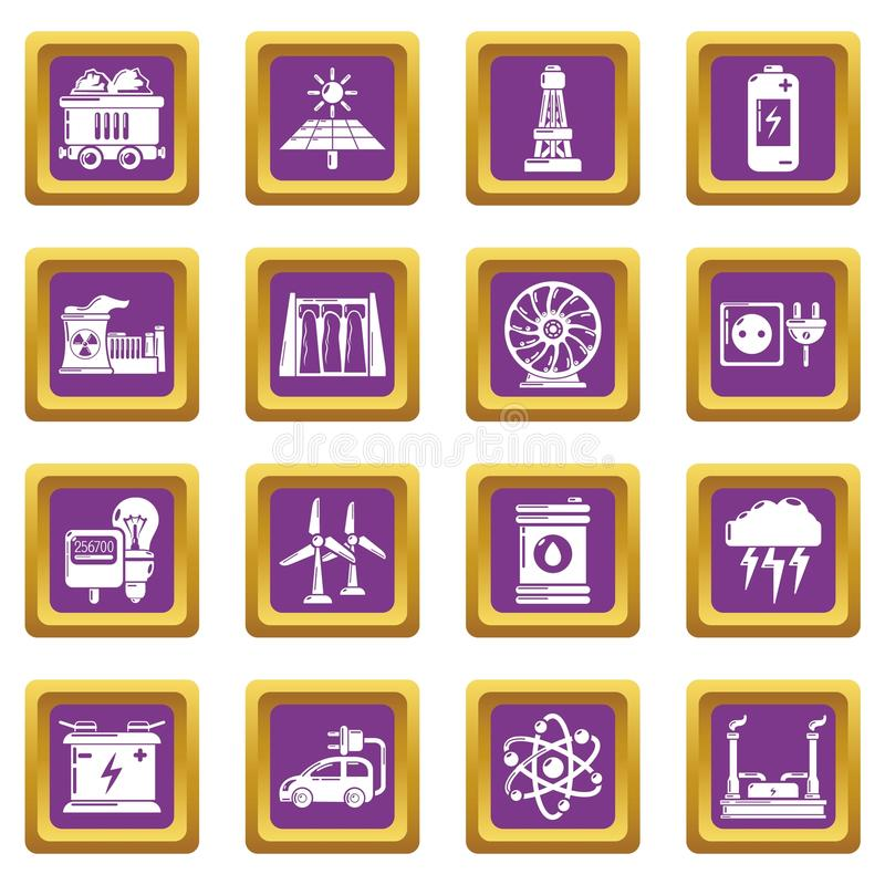 Energy sources icons set purple square vector. Energy sources icons set vector purple square isolated on white background vector illustration
