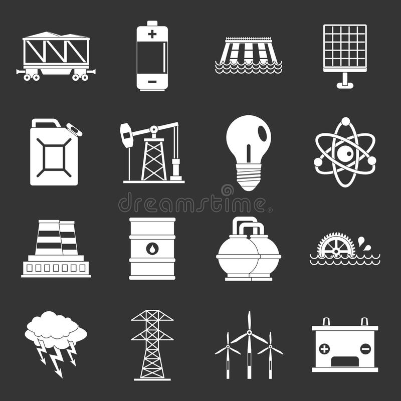 Energy sources items icons set grey vector vector illustration