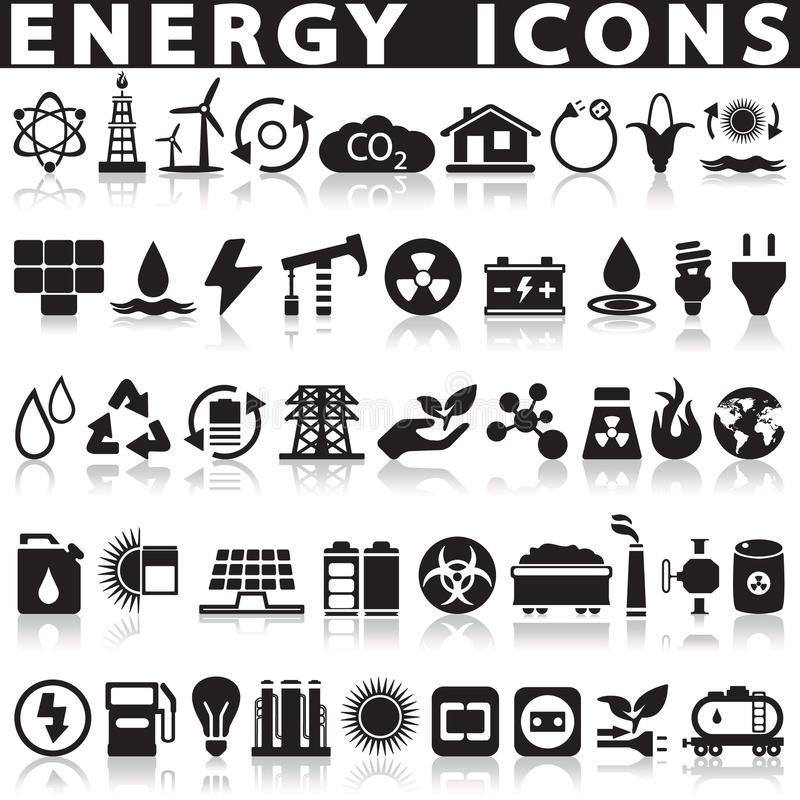 Energy sources icons set. Energy sources icons set on a white background with a shadow stock illustration