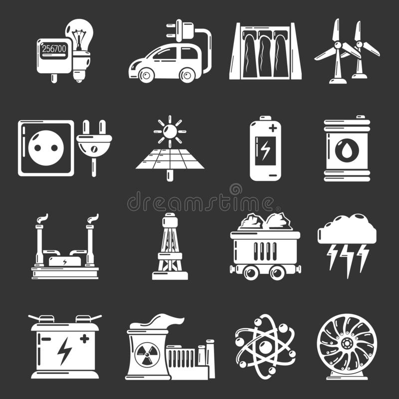 Energy sources icons set grey. Energy sources icons set white isolated on grey background vector illustration