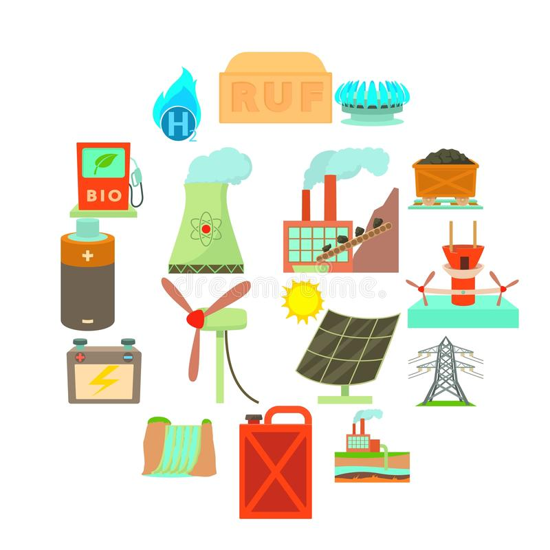 Energy sources items icons set, cartoon style. Energy sources icons set. Cartoon illustration of 16 energy sources vector icons for web royalty free illustration