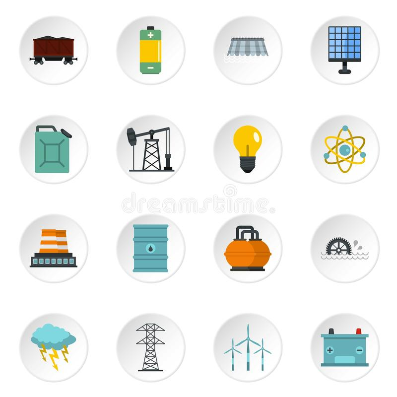Energy sources items icons set in flat style. Energy sources icons set in flat style isolated vector icons set illustration stock illustration