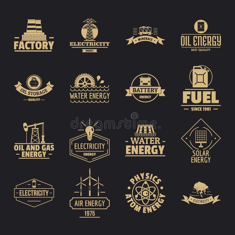 Energy sources logo icons set, simple style. Energy sources logo icons set. Simple illustration of 16 energy sources logo vector icons for web stock illustration