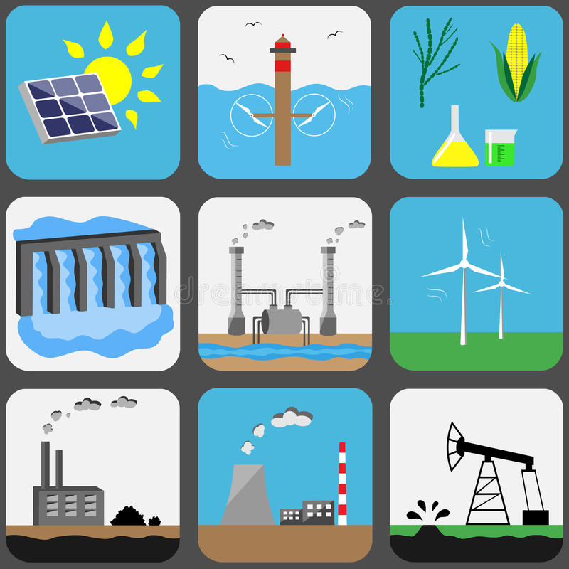 Energy sources vector icons set. Energy sources icons set. Vector illustration vector illustration