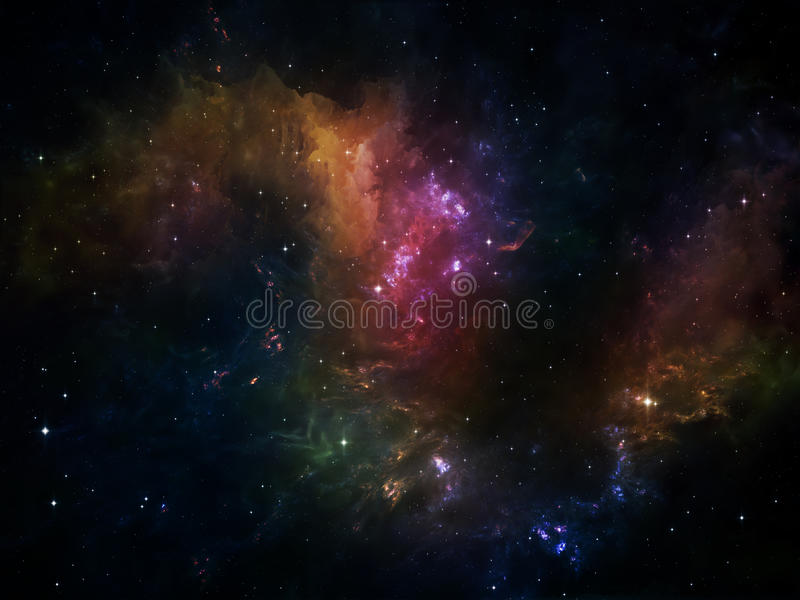 Energy of Space. Deep Space series. Design composed of nebula, stars and colors as a metaphor on the subject of astronomy, science, space and religion vector illustration