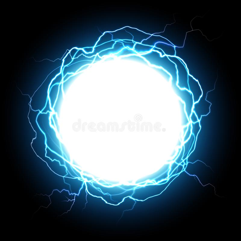 Energy sphere. Electric plasma ball, explosion lightnings and electrical power vector illustration royalty free illustration