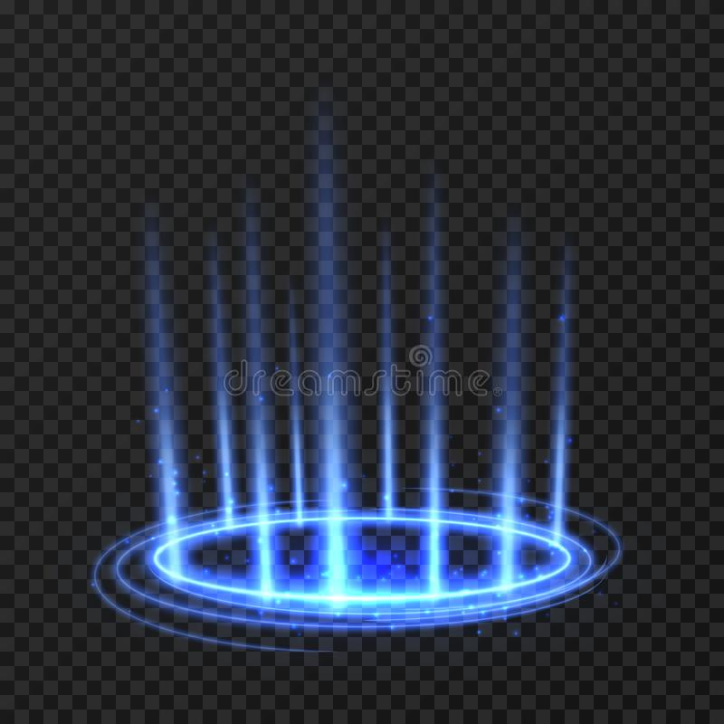 Free Energy Spinning Circle With Blue Glowing Rays. Fantasy Portal, Magic Twirled Teleport On Floor Iod Vector Illustration Stock Photo - 120334100