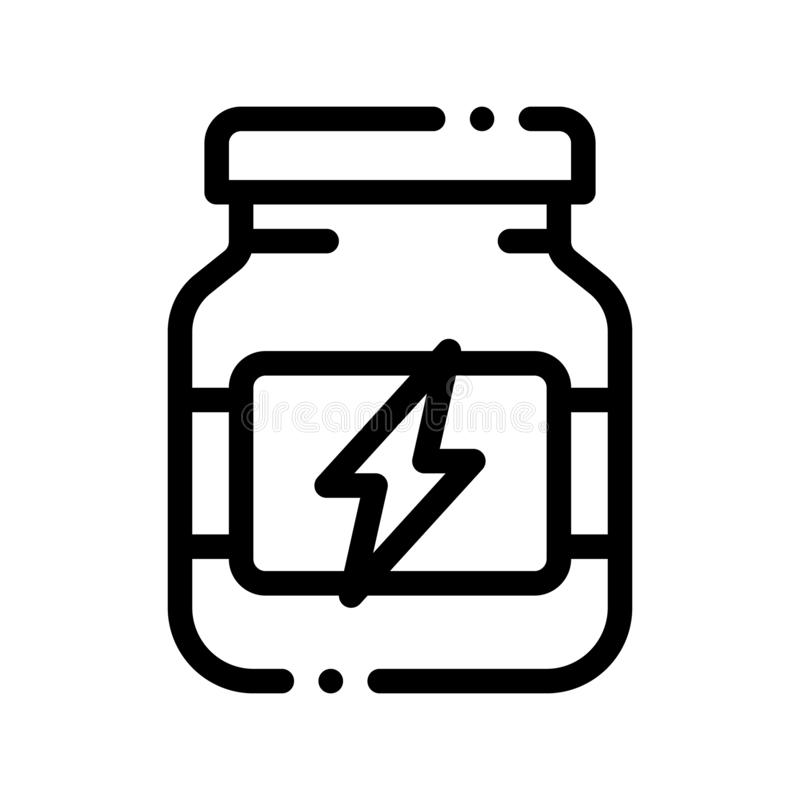 Energy Sport Supplements Vector Thin Line Icon. Sportsman Plastic Container With Energy Healthy Balancer Linear Pictogram. Dietary Protein Ingredient, Bar vector illustration