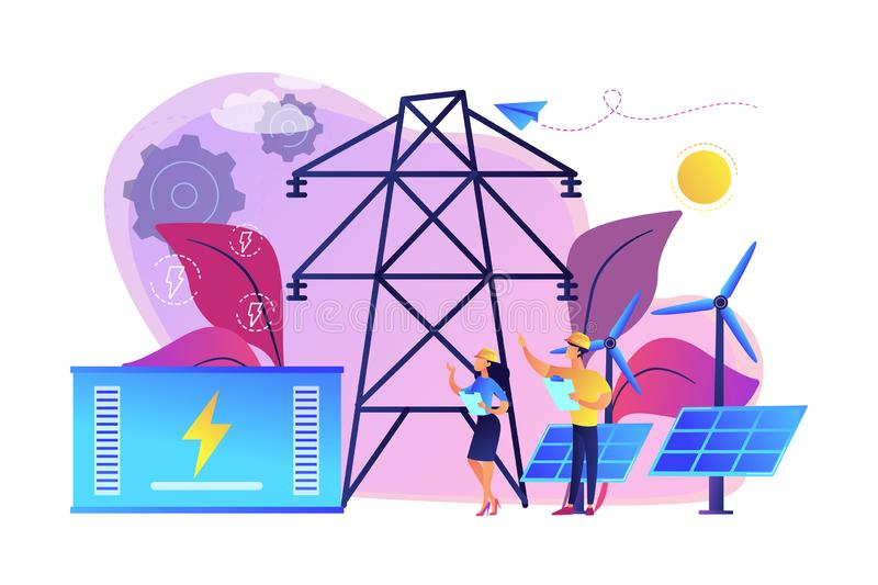 Energy storage concept vector illustration. Battery energy storage from renewable solar and wind power station. Energy storage, energy collection methods stock illustration