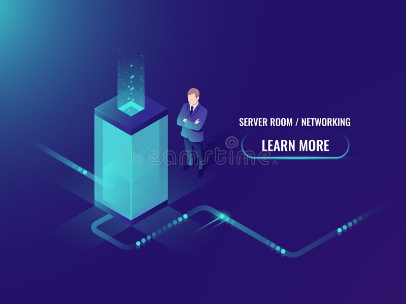 Energy technology neon style, server room rack, data center concept, big data processing. Data transmission technology and data protection, isometric vector illustration