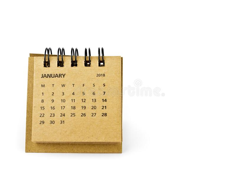 enero Hoja del calendario en blanco Dos mil dieciocho años caloría imagen de archivo libre de regalías