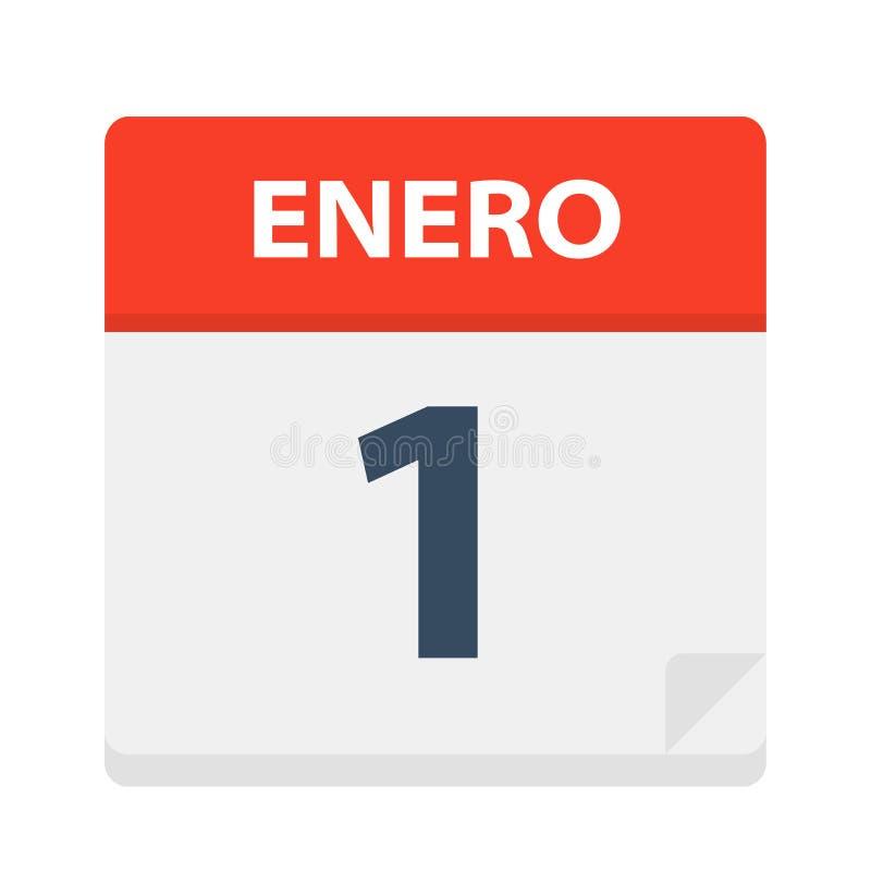 Enero 1 - icono del calendario - 1 de enero Ejemplo del vector de la hoja española del calendario ilustración del vector