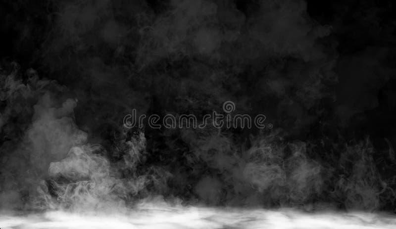 Enevoe ou fume o efeito especial isolado no assoalho Fundo branco da opacidade, da névoa ou da poluição atmosférica ilustração do vetor
