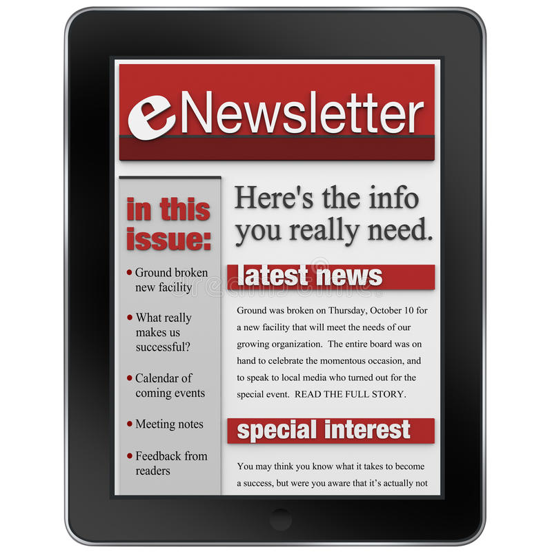ENewsletter en alarma de las noticias del ordenador de la tablilla ilustración del vector