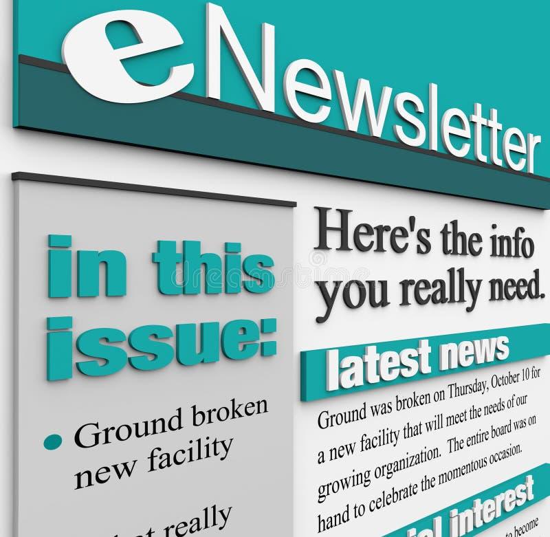 ENewsletter Ostrzeżenia Zagadnienia Emaila Wiadomości Aktualizacja ilustracja wektor