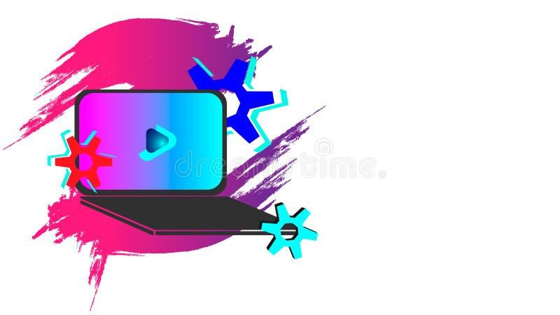 Enfärg bärbar dator stock illustrationer