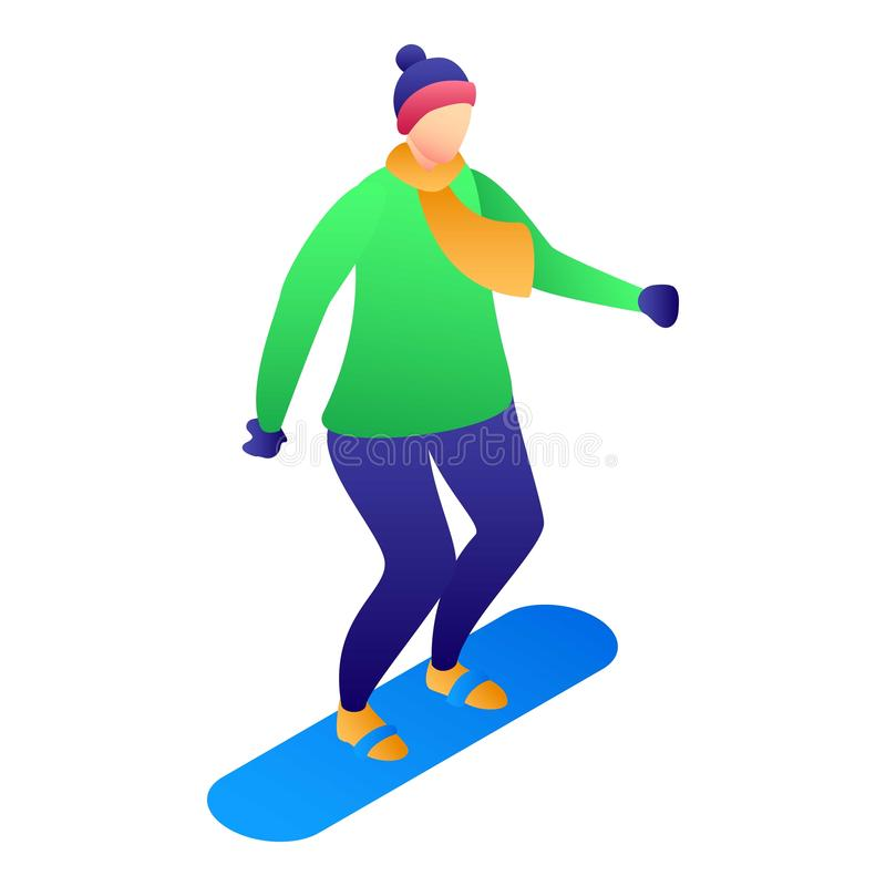 Enfant à l'icône de surf des neiges, style isométrique illustration libre de droits