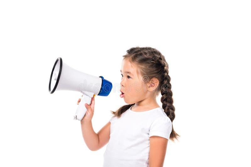 Enfant adorable avec le mégaphone image stock