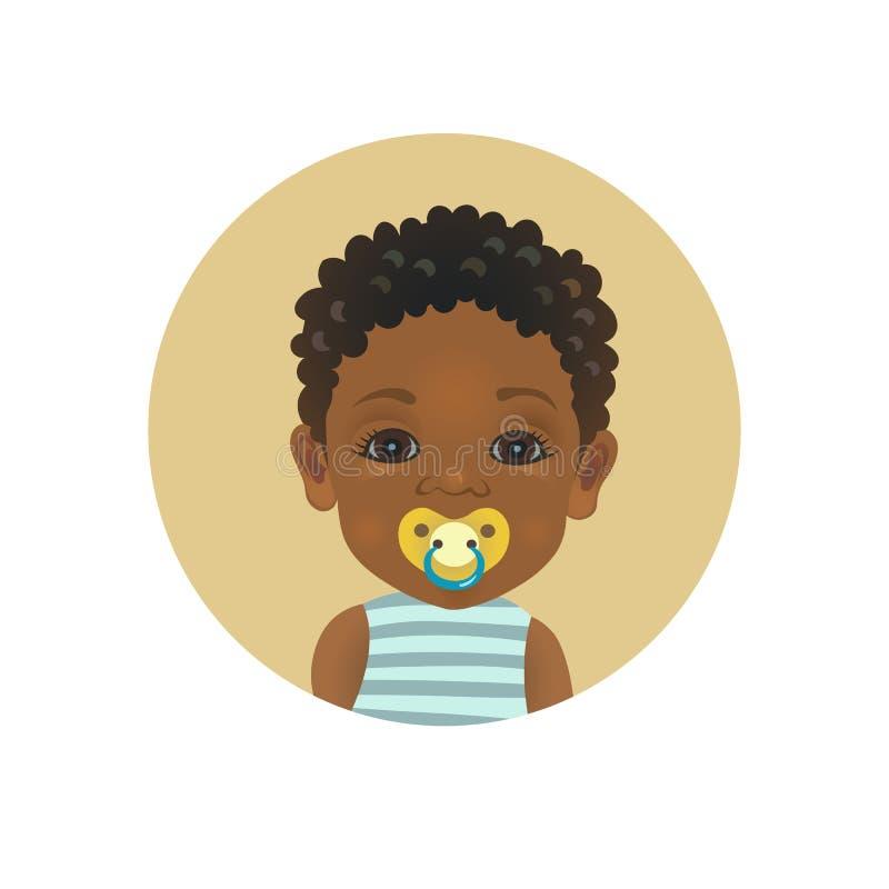 Enfant africain afro-américain mignon avec une émoticône de tétine de soother Enfant en bas âge à la peau foncée avec l'avatar fa illustration libre de droits