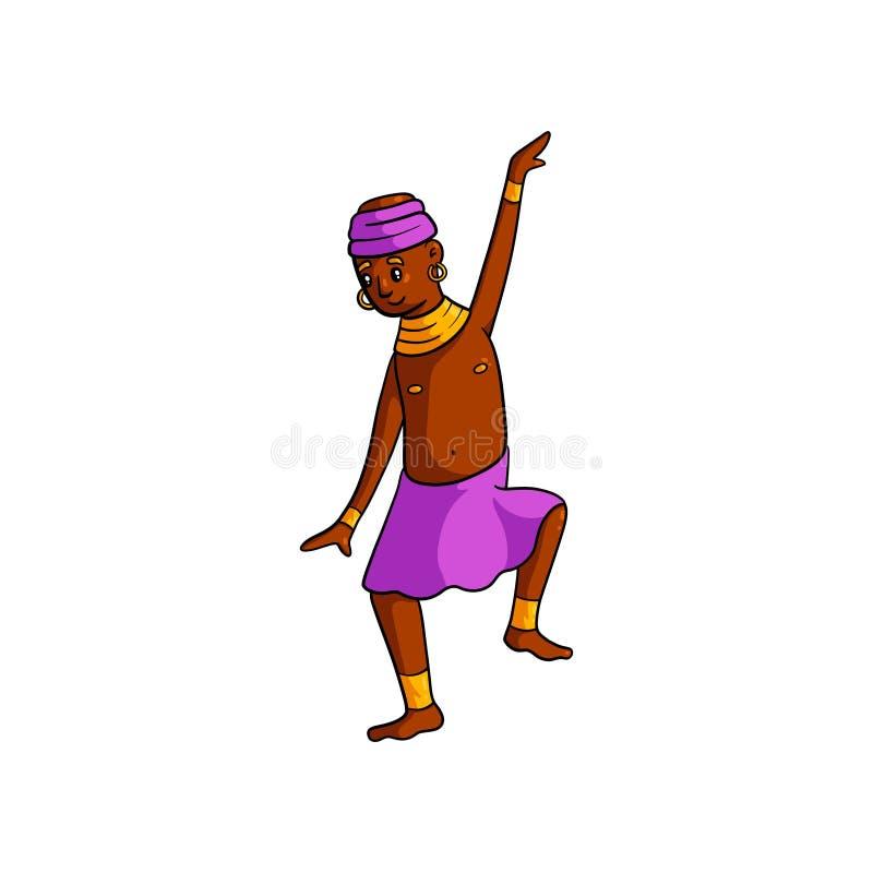 Enfant africain de danse de tribu mignonne avec la jupe rose illustration de vecteur