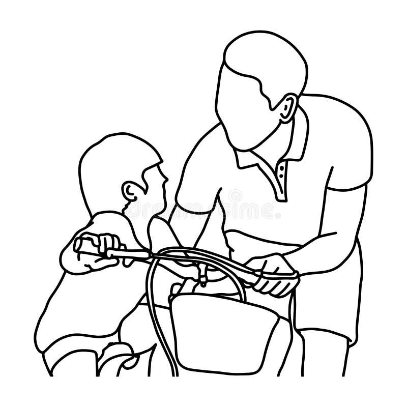 Enfant apprenant à monter un vélo avec son vecteur de père illustration libre de droits