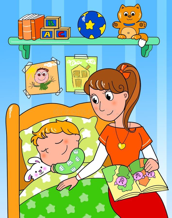Enfant au bâti avec la maman illustration libre de droits