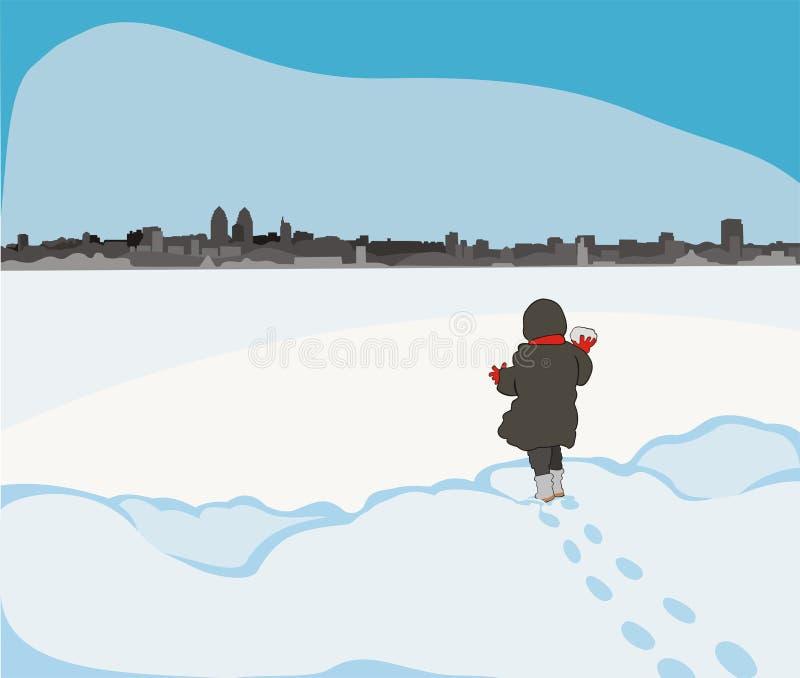 Enfant au fleuve figé illustration stock