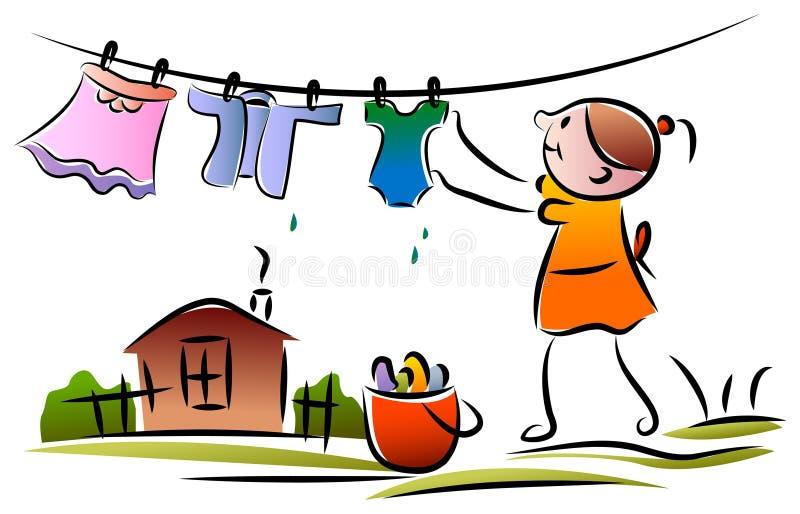 Enfant avec de la corde à linge illustration stock