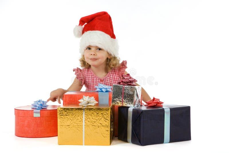 Enfant avec des présents photo libre de droits
