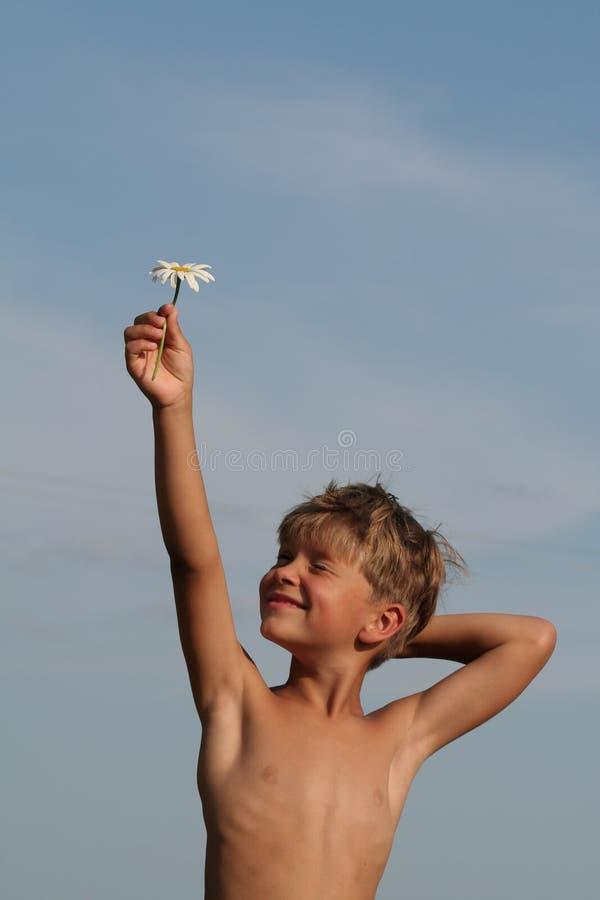 Enfant avec la fleur image libre de droits