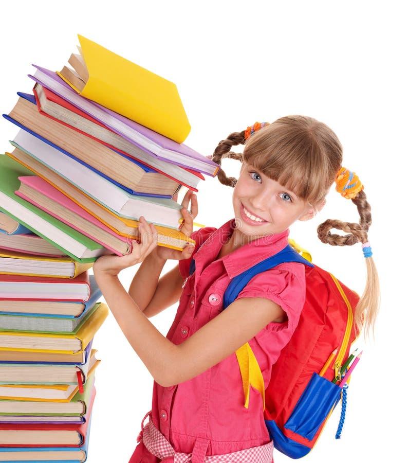 Enfant avec la pile des livres. images libres de droits