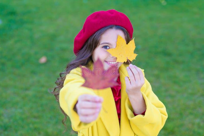 Enfant avec la promenade de feuilles d'érable d'automne L'agrément d'automne est juste autour Petite fille excitée au sujet de la photo stock