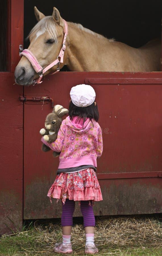 Enfant avec le cheval photo libre de droits