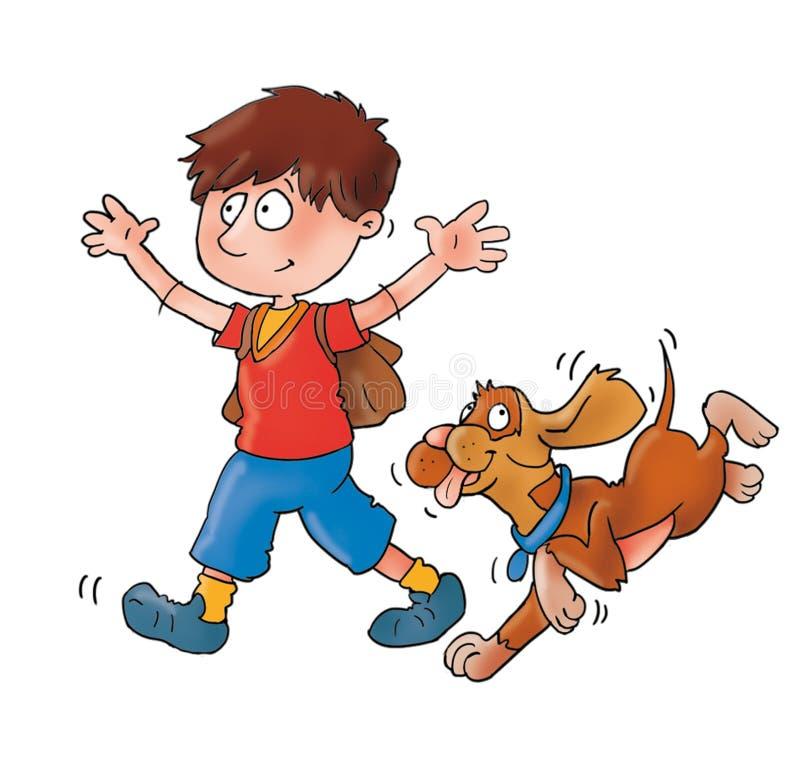 Enfant avec le chien, bandes dessinées du ` s d'enfants, aventure pour des enfants illustration libre de droits