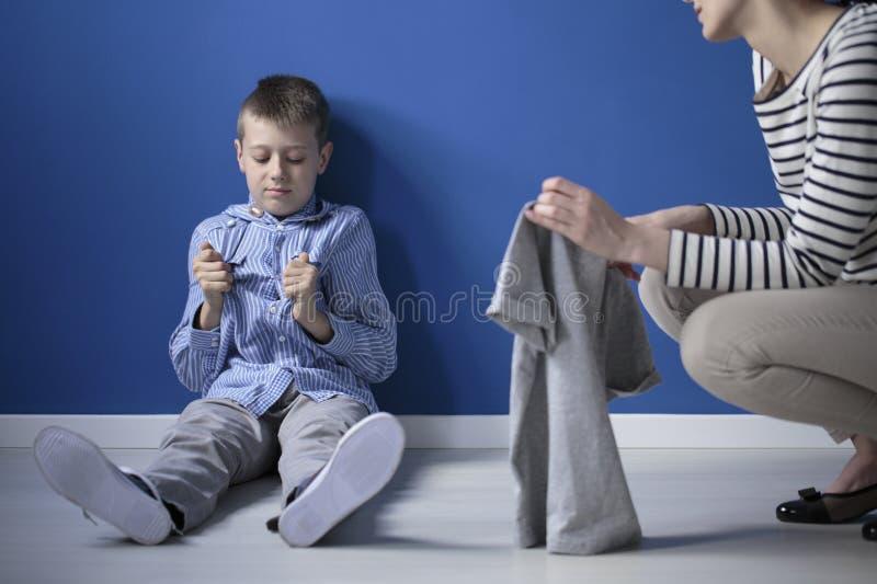 Enfant avec le syndrome de Heller image stock