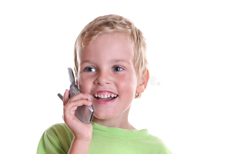Enfant avec le téléphone photo stock