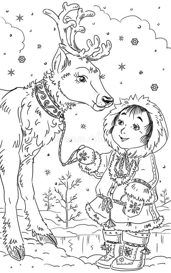 Enfant avec les cerfs communs illustration stock