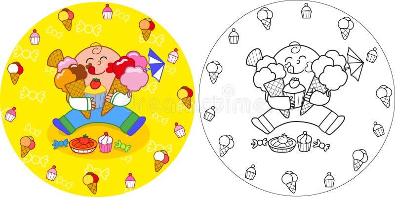 Enfant avec plaisir mangeant des bonbons illustration stock