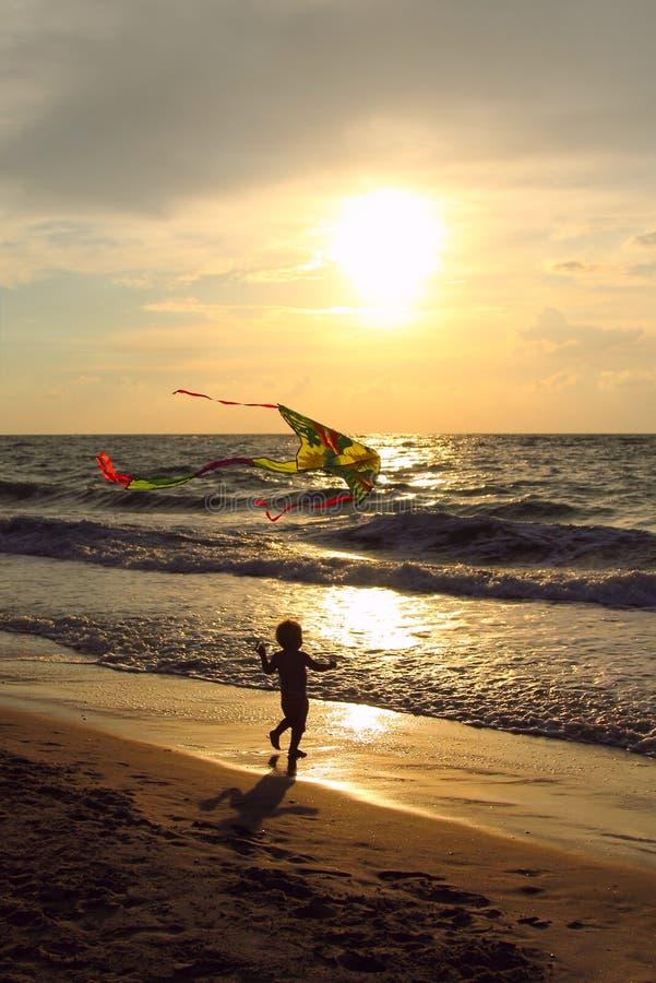 Enfant avec un cerf-volant photos libres de droits