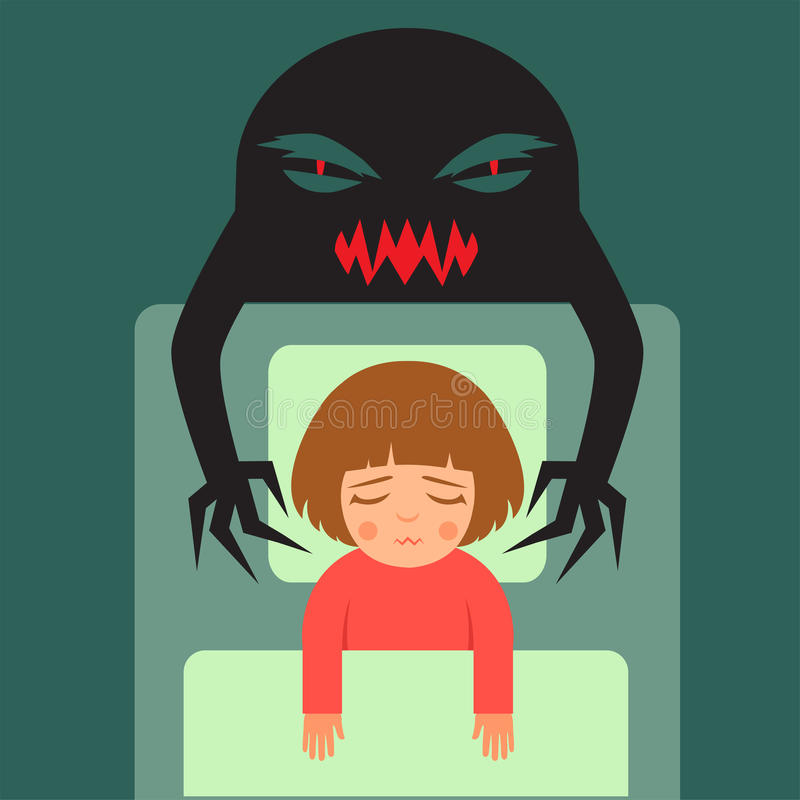 enfant ayant de mauvais rêves illustration de vecteur
