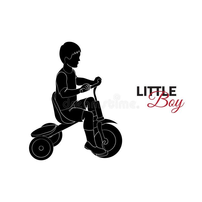 Enfant, bébé Petit garçon montant une bicyclette illustration stock