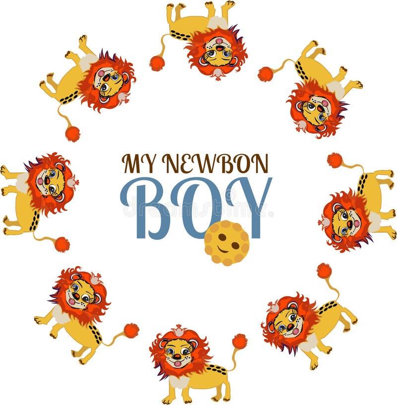 Enfant Bébé Petit lion mignon Garçon nouveau-né illustration libre de droits
