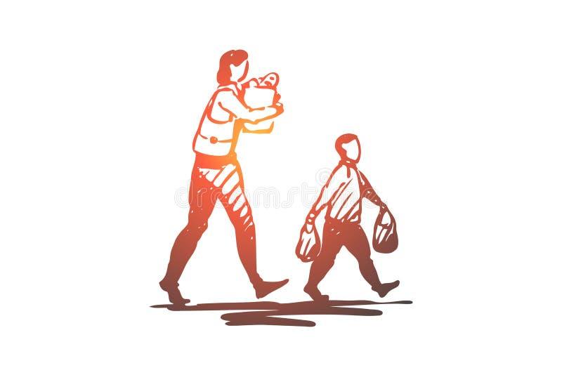 Enfant, bon, façons, garçon, sac, concept de maman Vecteur d'isolement tiré par la main illustration de vecteur