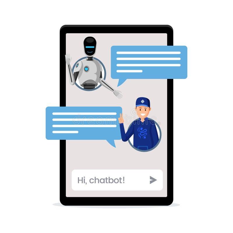 Enfant causant avec l'illustration de vecteur de chatbot Avatars d'utilisateur et boîtes de la parole sur l'écran de smartphone C illustration libre de droits