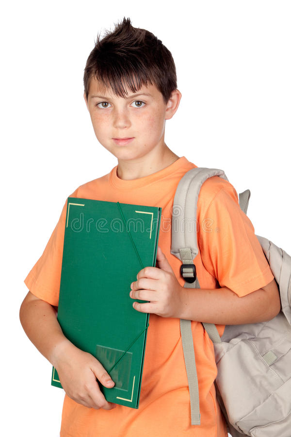 Enfant d'étudiant avec le T-shirt orange images libres de droits