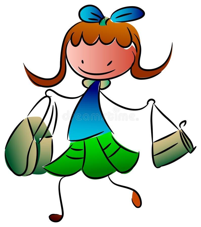 Enfant d'achats de mode illustration de vecteur