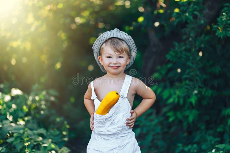 Enfant d'agriculteur avec la courge jaune dans les combinaisons blanches et le chapeau de vêtements sport, se tenant dans le jard photos stock